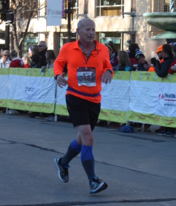 Coming into the finish at the Madison 1/2 marathon in November 2015
